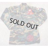 韓国軍ウッドランド迷彩ジャケット機甲部隊パッチ付き刺繍入り