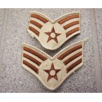 米軍 米空軍デザートカラー色 上級空兵階級章2枚セット