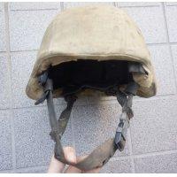 英軍放出MSA製MICH-2000ヘルメット黒MEDIUM IDパッチ・DBT製コヨーテタンカバー付き