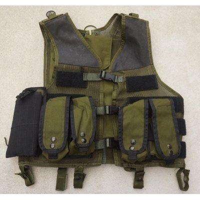画像1: 米海軍特殊部隊放出ブラックホークOMEGAモジュラーベストOD改造品ポーチ5個付き旧タグ品